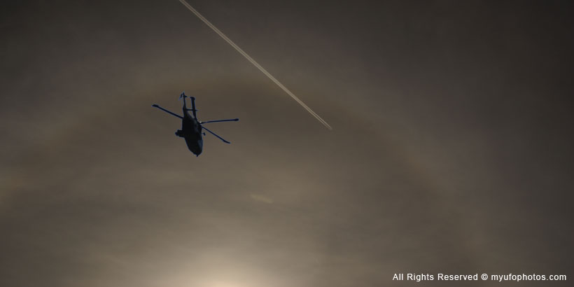 Fake helicopter in cigar-shaped UFO image