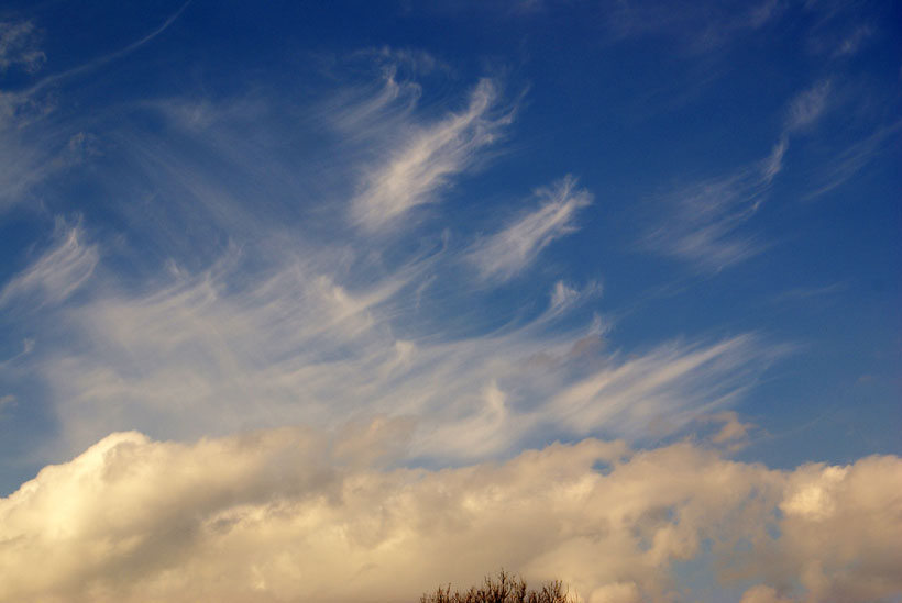 Cirrus clouds and Cumulus