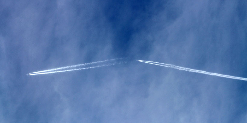 Normal contrails at different altitudes